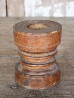 Antique Painted Mortar in Satinwood, Kerala, South India